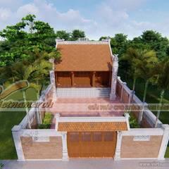 Thiết kế nhà thờ họ 3 gian 2 mái tại Hải Dương:  Nhà by Công ty TNHH Xây dựng Vietnamarch, Mộc mạc