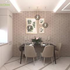 Дизайн двухкомантной квартиры 57 кв. м в современном стиле: Столовые комнаты в . Автор – ЕвроДом,