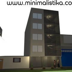 Diseño de Fachada Minimalista Edificio SMP: Casas de estilo  por Minimalistika.com