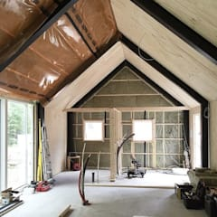 Casa de campo Paredes y pisos de estilo moderno de Design WRX Moderno Madera Acabado en madera
