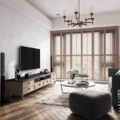 Living room by 百玥空間設計,