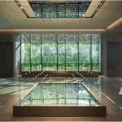 晶英酒店大廳設計:  飯店 by 樸木聯合建築師事務所, 現代風 金屬
