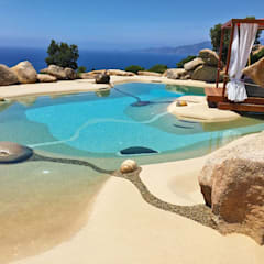 Garden Pool by ROCKS GARDENS DESIGN, Mediterranean Stone