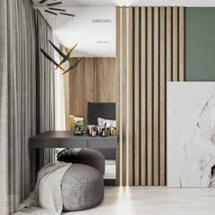 Projekt mieszkania w Krakowie Minimalistyczna sypialnia od LINEUP STUDIO Minimalistyczny