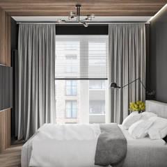 Mieszkanie z odcieniem loftu w Krakowie: styl , w kategorii Małe sypialnie zaprojektowany przez LINEUP STUDIO,Minimalistyczny