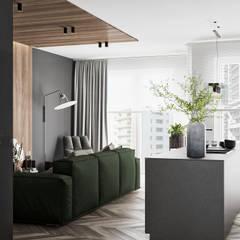Mieszkanie z odcieniem loftu w Krakowie Minimalistyczny salon od LINEUP STUDIO Minimalistyczny
