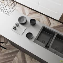 Mieszkanie z odcieniem loftu w Krakowie: styl , w kategorii Aneks kuchenny zaprojektowany przez LINEUP STUDIO