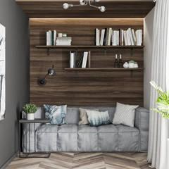 Mieszkanie z odcieniem loftu w Krakowie Minimalistyczne domowe biuro i gabinet od LINEUP STUDIO Minimalistyczny