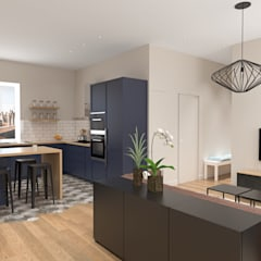 Rénovation d'un appartement: Cuisine de style  par Julie LEFEVRE - Design d'Espace et Rendu 3D