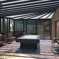 Décoration de plusieurs pièces de vie dans une maison: Terrasse de style  par Julie LEFEVRE - Design d'Espace et Rendu 3D,