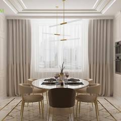 Дизайн четырехкомнатной квартиры 134 кв. м в современном стиле. Фото проекта: Столовые комнаты в . Автор – ЕвроДом