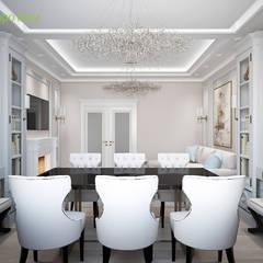 Дизайн 3-комнатной квартиры 90 кв. м в стиле неоклассика: Столовые комнаты в . Автор – ЕвроДом
