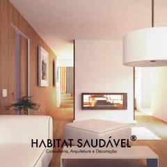 Casa da Fonte : Salas de estar  por Habitat Saudável - consultoria, arquitetura e decoração,Campestre