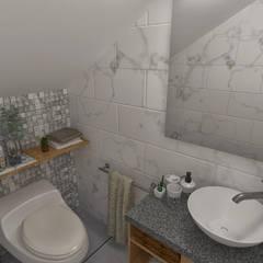 Arquitectura de interiores en vivienda en SMP: Baños de estilo  por LS Arquitectura, diseño y acústica, Moderno Cerámico