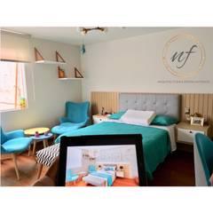 Vista 3D y vista real de proyecto implementado: Dormitorios de estilo  por NF Diseño de Interiores