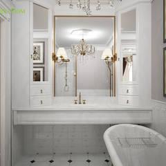 Дизайн двухкомнатной квартиры 65 кв. м в стиле неоклассика: Ванные комнаты в . Автор – ЕвроДом