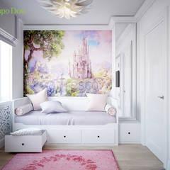 Дизайн трехкомнатной квартиры 60 кв. м в стиле неоклассика: Спальни в . Автор – ЕвроДом