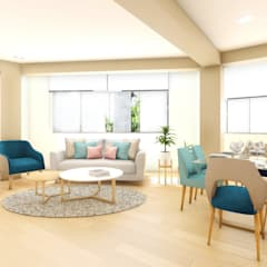 PROYECTO DEPARTAMENTO FAMILIAR COMAS: Salas / recibidores de estilo  por NF Diseño de Interiores