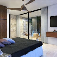 Bedroom by Manuel Aguilar Arquitecto, Tropical