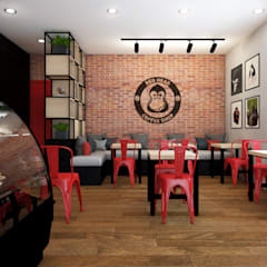 PROYECTO CAFETERIA RED HEAD COFFEE SHOP : Restaurantes de estilo  por NF Diseño de Interiores , Industrial