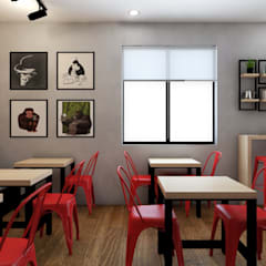 PROYECTO CAFETERIA RED HEAD COFFEE SHOP : Restaurantes de estilo  por NF Diseño de Interiores ,