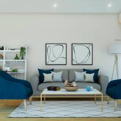 PROYECTO SALA Y COMEDOR   -  LE SAULE LINCE- : Salas / recibidores de estilo  por NF Diseño de Interiores , Moderno