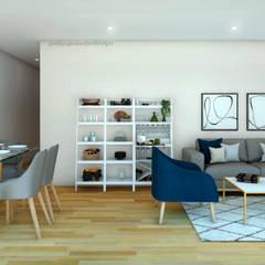 PROYECTO SALA Y COMEDOR   -  LE SAULE LINCE- : Salas / recibidores de estilo  por NF Diseño de Interiores