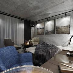 Гостиничный номер из бетонного гаража: Маленькие спальни в . Автор – Студия Aрхитектуры и Дизайна 'Aleksey Marinin', Лофт Бетон