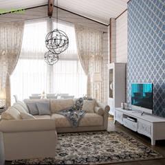 Дизайн коттеджа 100 кв. м в классическом стиле: Гостиная в . Автор – ЕвроДом