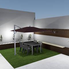 Projeto de Jardim de Moradia em banda em Vieira do Minho: Jardins  por R&U ATELIER LDA,Moderno