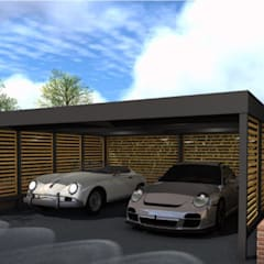 Double carport for Classic Car Enthusiast od wearemodern limited Nowoczesny Żelazo/Stal