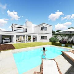 Casa Balcón: Piletas de estilo  por Arquitectura 2046