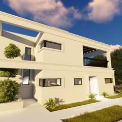 Fachada en esquina: Casas unifamiliares de estilo  por Arquitectura 2046