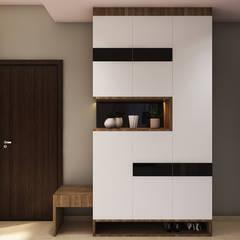 Scandinavian style flat interiors:  Corridor & hallway by Rhythm  And Emphasis Design Studio ,Scandinavian