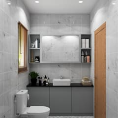 Modern with Scandinavian style flat interiors :  Bathroom by Rhythm  And Emphasis Design Studio