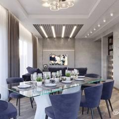 Дизайн кухни-гостиной в частном доме (д.Брусилово): Столовые комнаты в . Автор – Дизайн-студия 'Абрис',