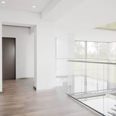 Интерьер загородного дома в с. Кижеватово *Дух Калифорнии*: Лестницы в . Автор – Дизайн - Центр, Модерн