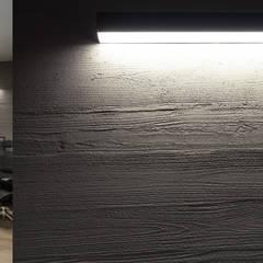 Piętro domu na planie otwartym – pokój rozrywkowy i gabinet właściciela: styl , w kategorii Domowe biuro i gabinet zaprojektowany przez SZARA / studio