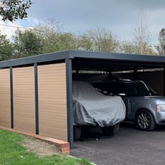 Double carport for Classic Car Enthusiast:  Carport by wearemodern limited, Modern Iron/Steel