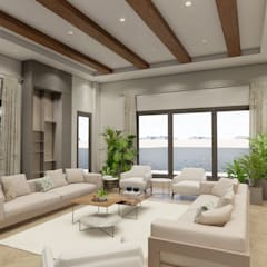Sonraki Mimarlık Mühendislik İnş. San. ve Tic. Ltd. Şti. – Kuwait Summer House Design Project 2019.:  tarz Oturma Odası