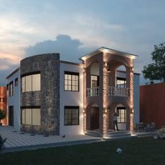 """PROYECTO Y CONSTRUCCIÓN DE CASA HABITACIÓN """"HUERTA"""": Casas de campo de estilo  por ARQUITECTOS TAFOYA"""
