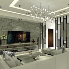Residence (Interior Project):  Living room by Inaraa Designs