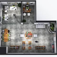 Open Concept modern Cloth showroom 3D Virtual Floor Plan Design by Architectural Visualisation Studio, Sydney – Australia:  Wooden houses by Yantram Architectural Design Studio