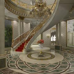 Sia Moore Archıtecture Interıor Desıgn – Al Rayyan Villa - Doha / Katar:  tarz Koridor ve Hol, Klasik Demir/Çelik