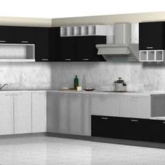 Cocina Blanco y Negro: Muebles de cocinas de estilo  por Imprearte spa
