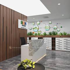 Khu lễ tân - View2:  Tòa nhà văn phòng by Công ty CP nội thất Miền Bắc