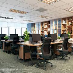 Lễ tân - Phòng làm việc - Phòng họp:  Tòa nhà văn phòng by Công ty CP nội thất Miền Bắc