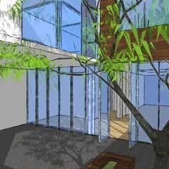 Proyecto de habitacion : Jardines en la fachada de estilo  por BOKEH ARQUITECTURA