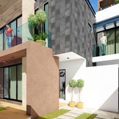 Casa Habitación : Pasillos y recibidores de estilo  por Vértice Arquitectos