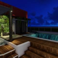Apartamento de Cobertura com Terraço: Terraços  por Joana Rezende Arquitetura e Arte